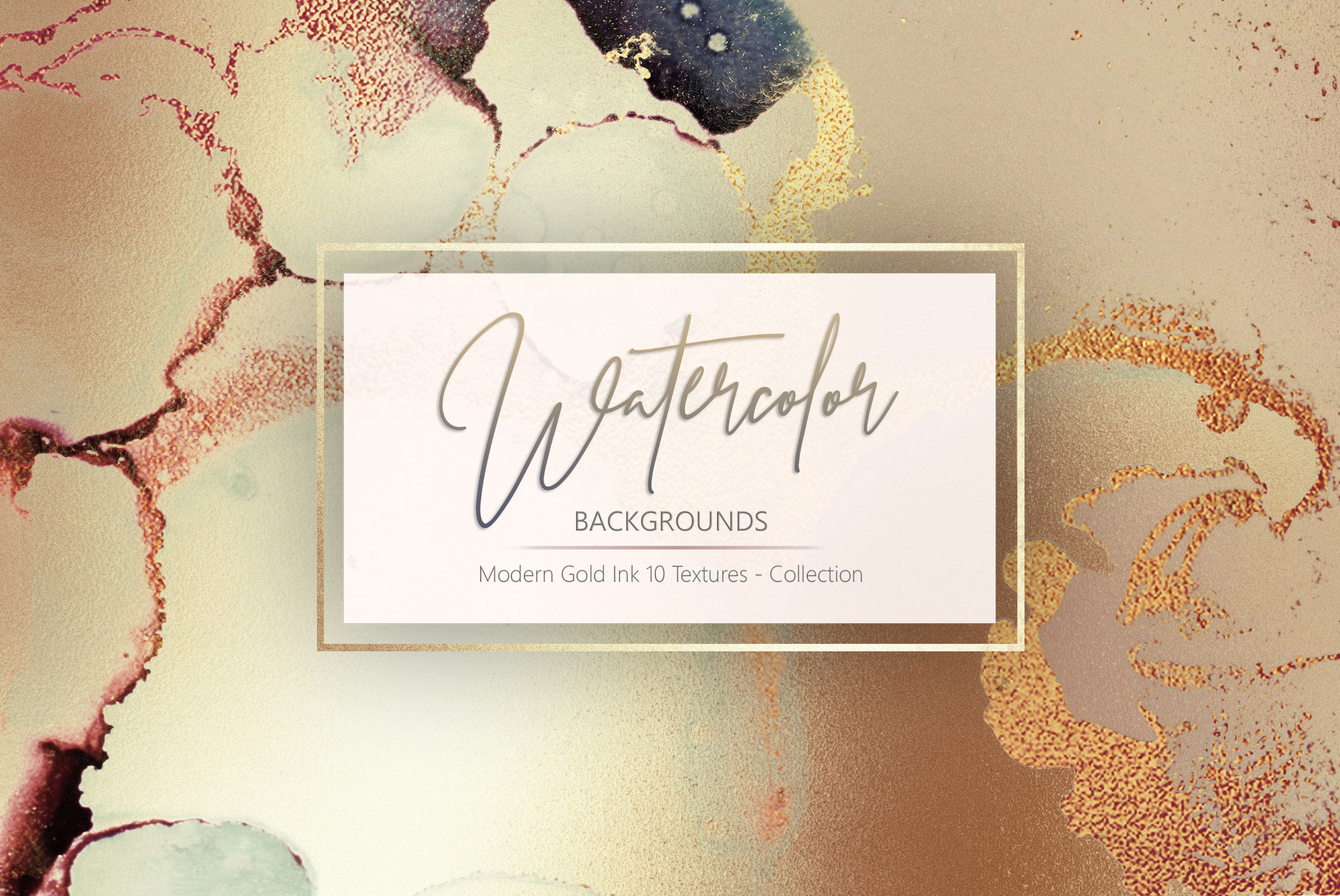 Gold Watercolor and Foil Textures BUNDLE example image 5