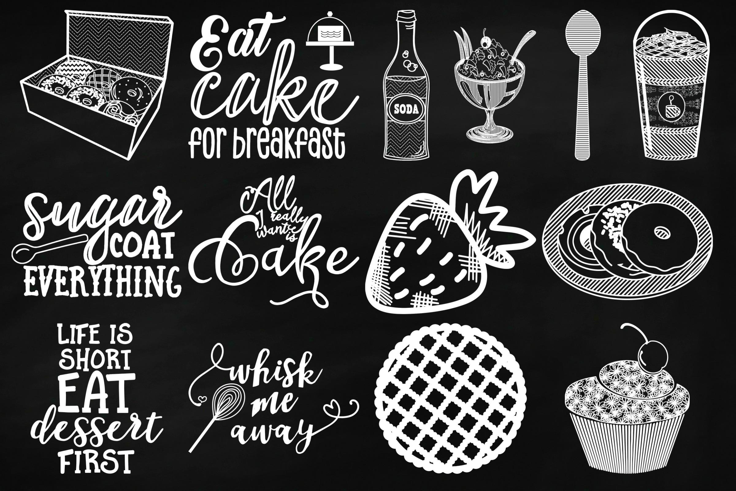 Chalk Sweet Junk Food Doodles Clip Art example image 3