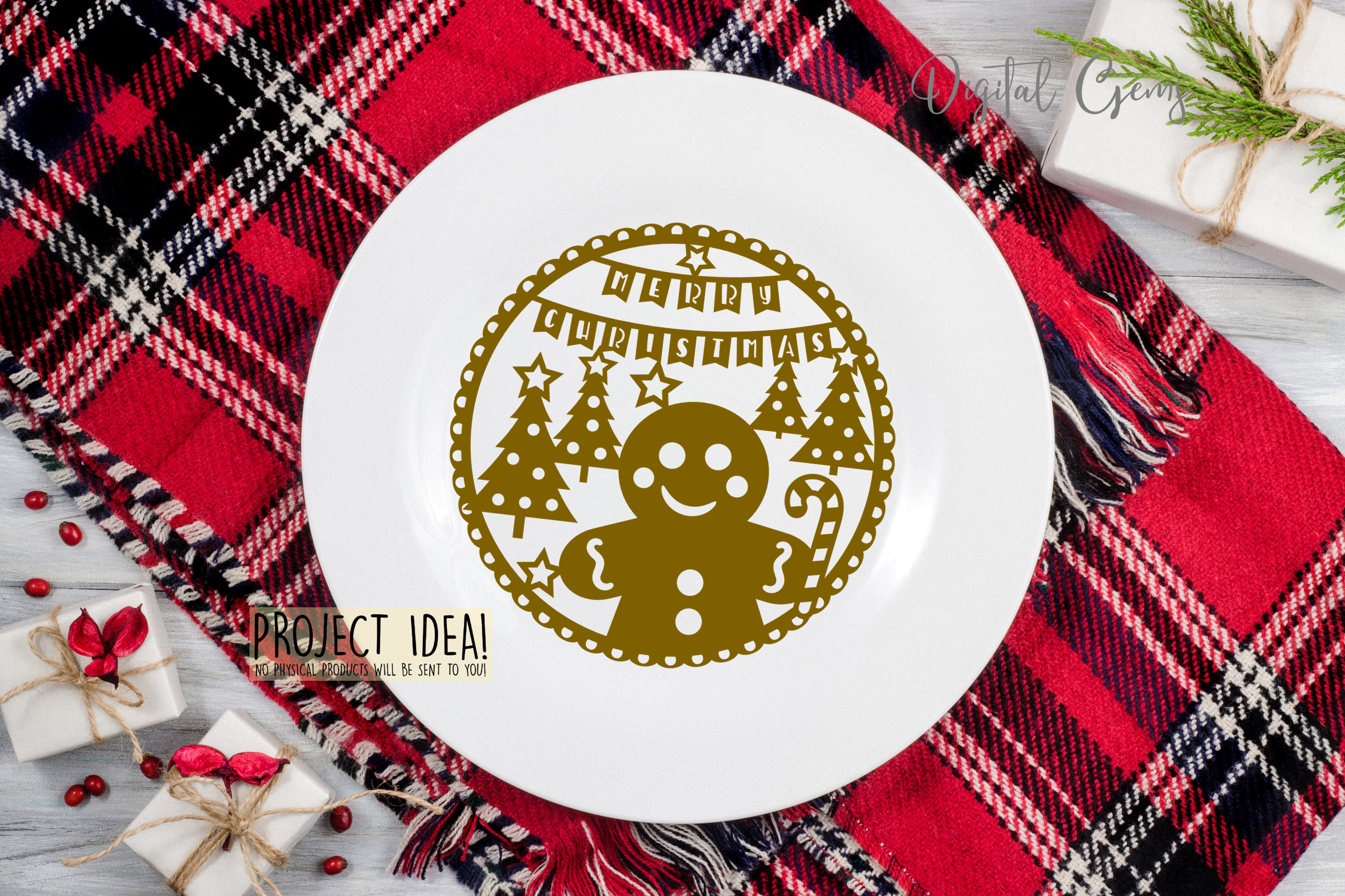 Christmas Gingerbread paper cut design SVG / DXF / EPS files example image 2