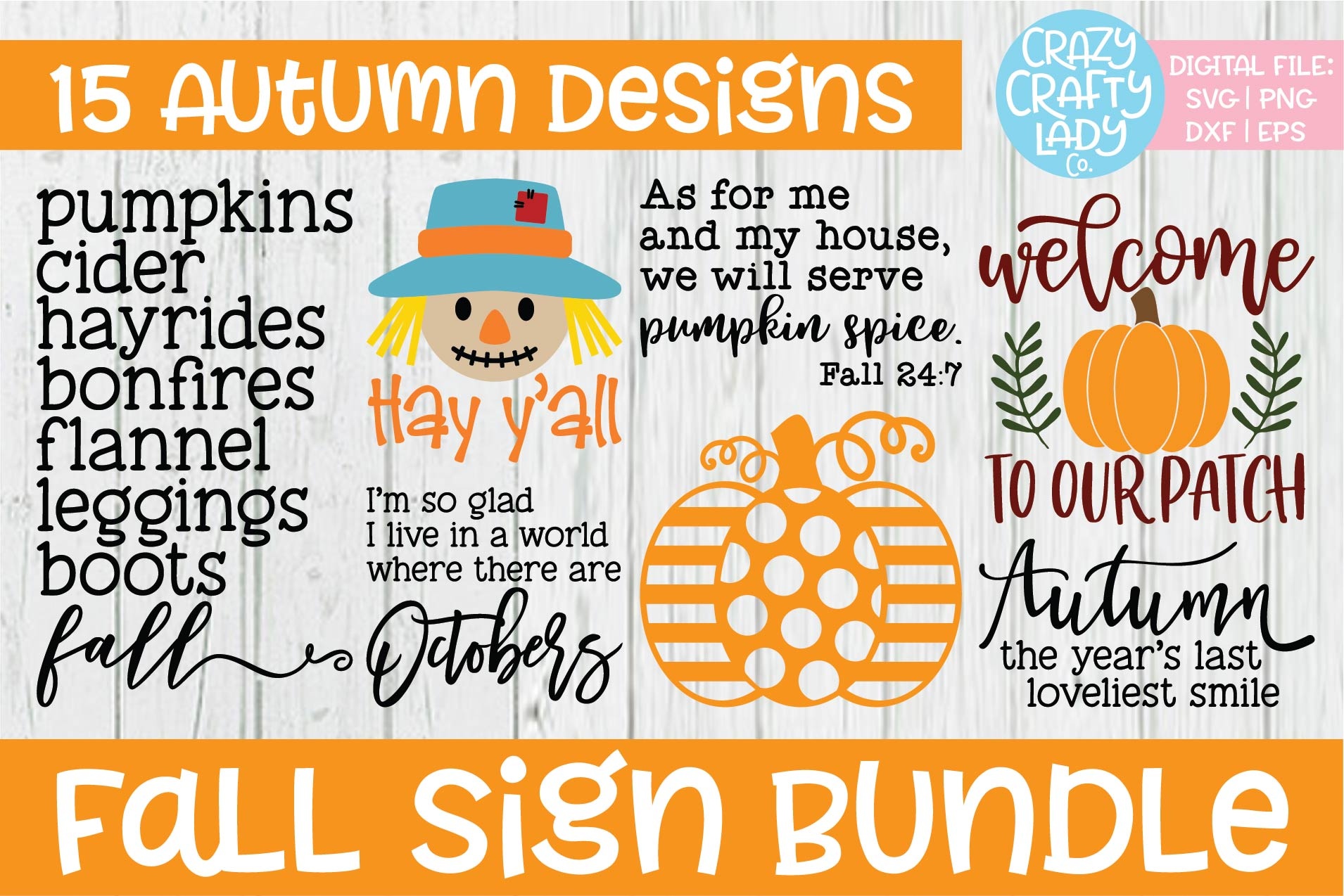 Fall Sign SVG DXF EPS PNG Cut File Bundle example image 2