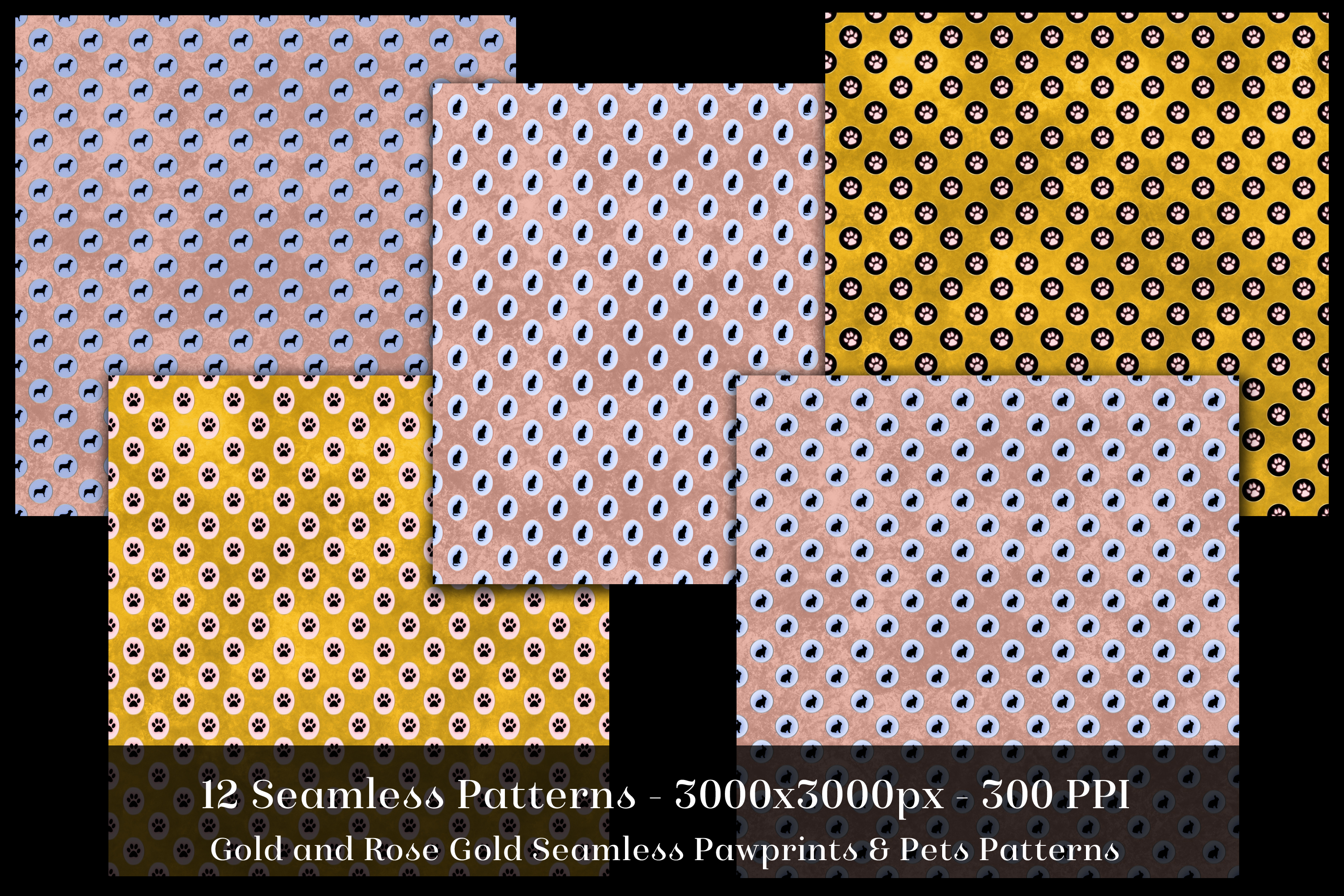 Gold & Rose Gold Seamless Pawprints & Pets Patterns example image 2
