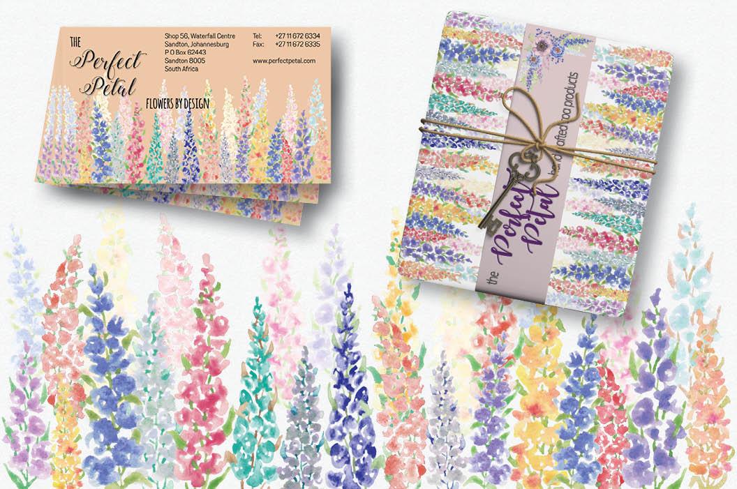 Watercolor border of Delphinium flowers example image 2