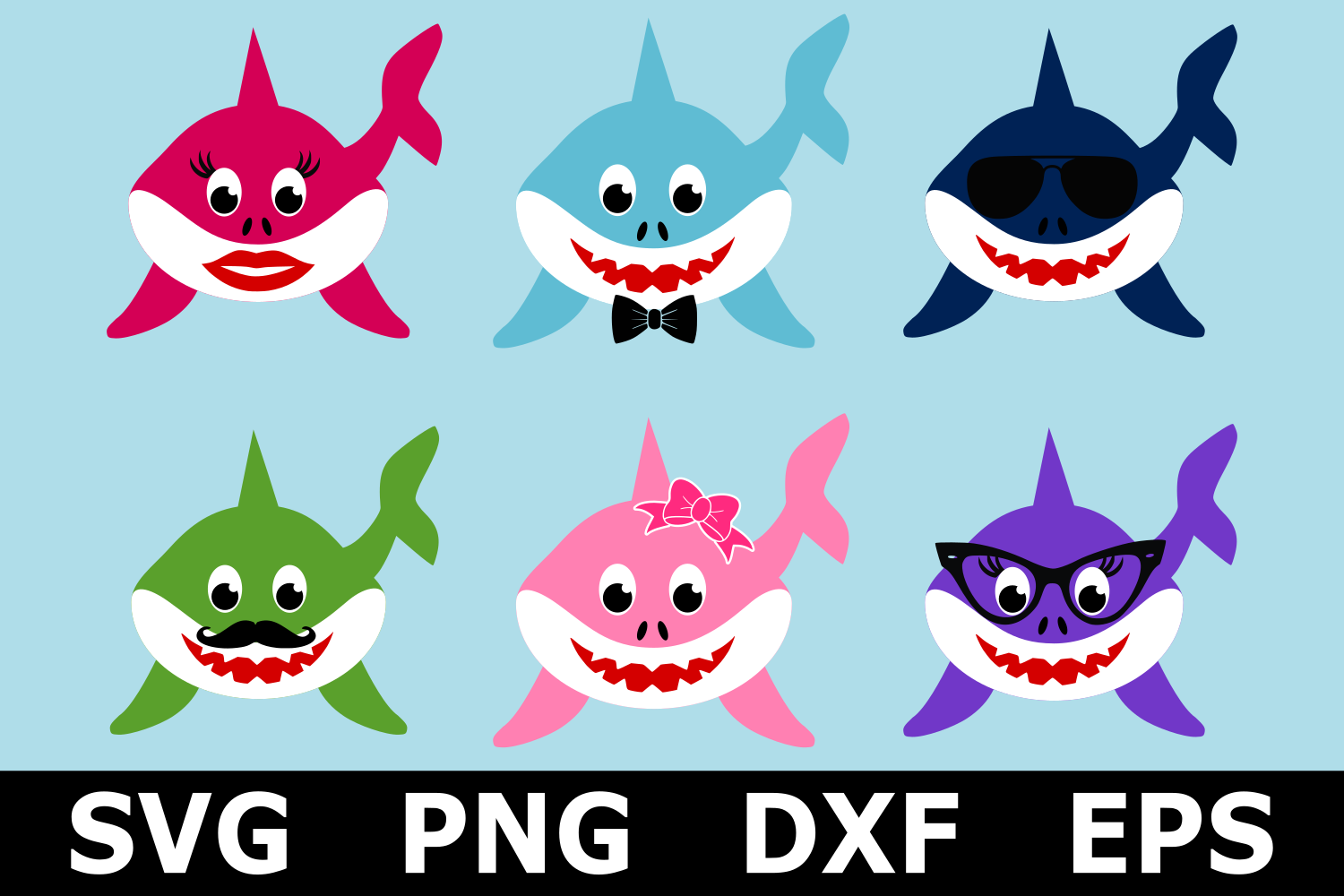 Shark Family Bundle - An Animal SVG Cut File example image 1