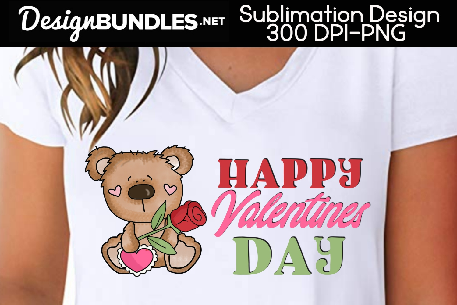 Valentine Bear-Valentines Day Sublimation Design example image 1