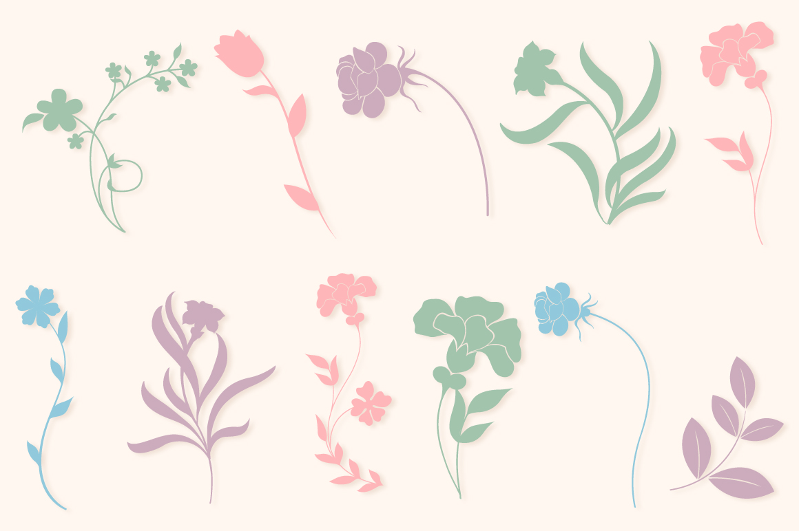 Floral Silhouettes SVG Cut Files Pack with 35 Items example image 2