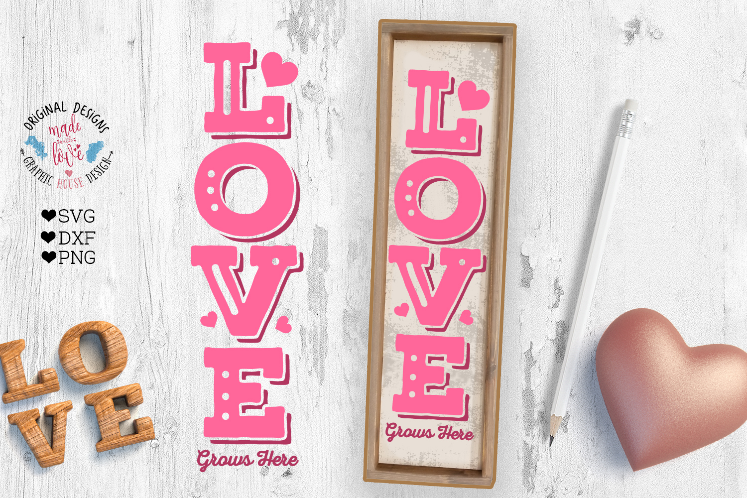 Love Valentines Porch Sign Cut File example image 3