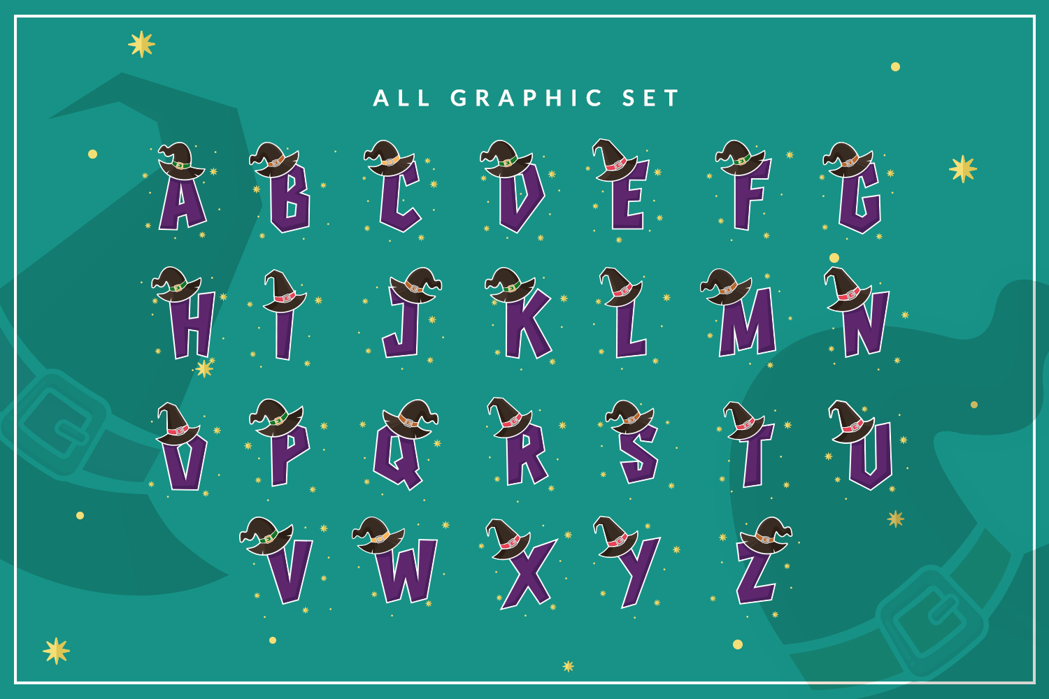 Witch Alphabets with Background example image 4