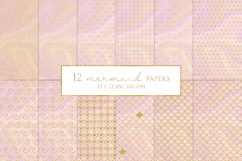 12 Gold Glitter Mermaid Digital Paper Pack example image 1