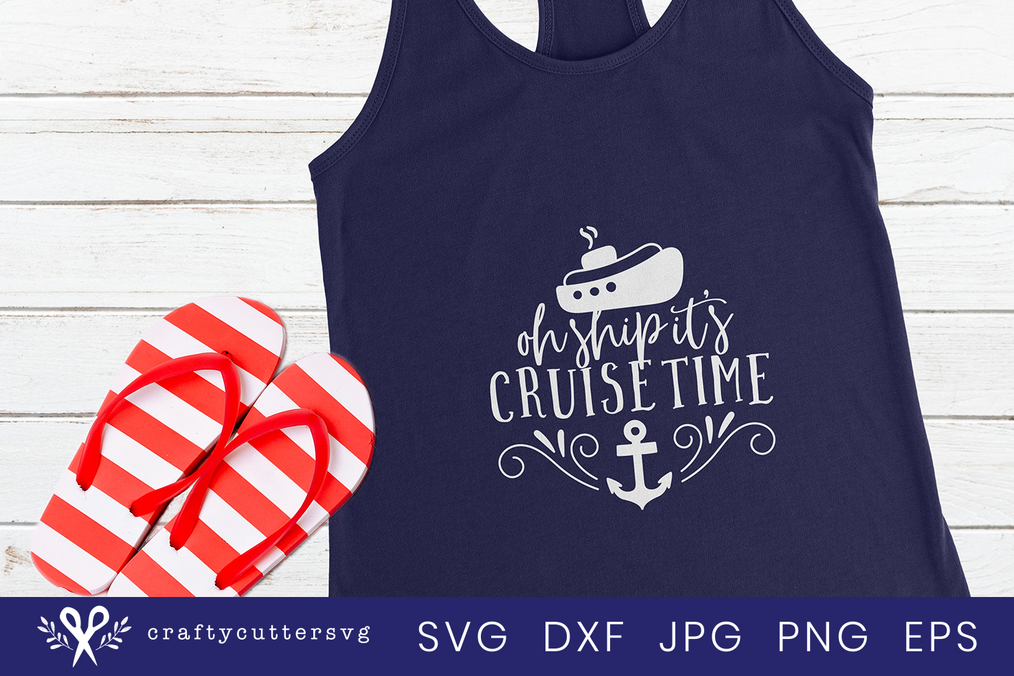 Oh ship it's cruise time Svg Cut File Ship Anchor Clipart example image 1