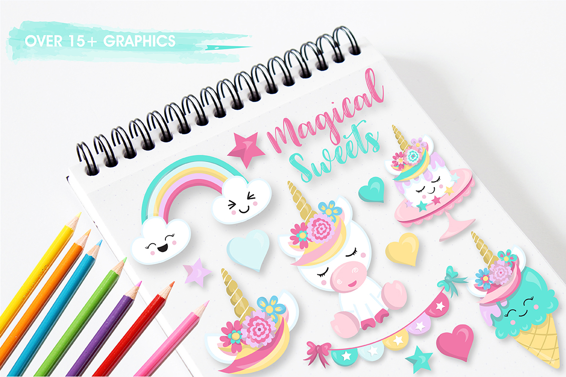 Unicorn sweets graphics and illustrations example image 4