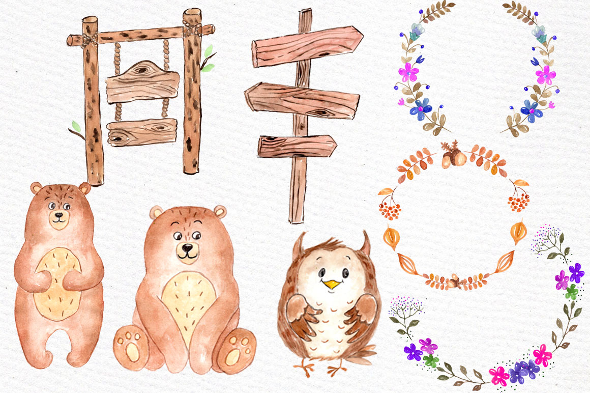 Watercolor forest animals clipart example image 3