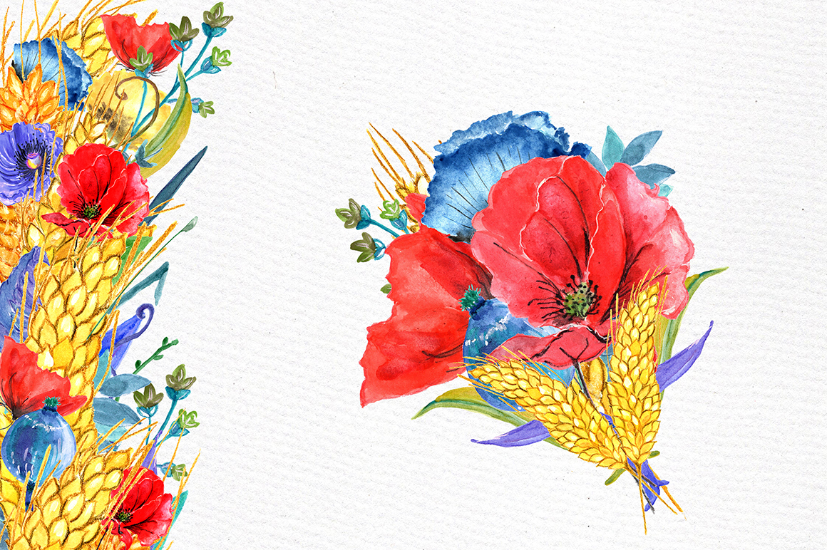 Watercolor poppies clipart example image 3