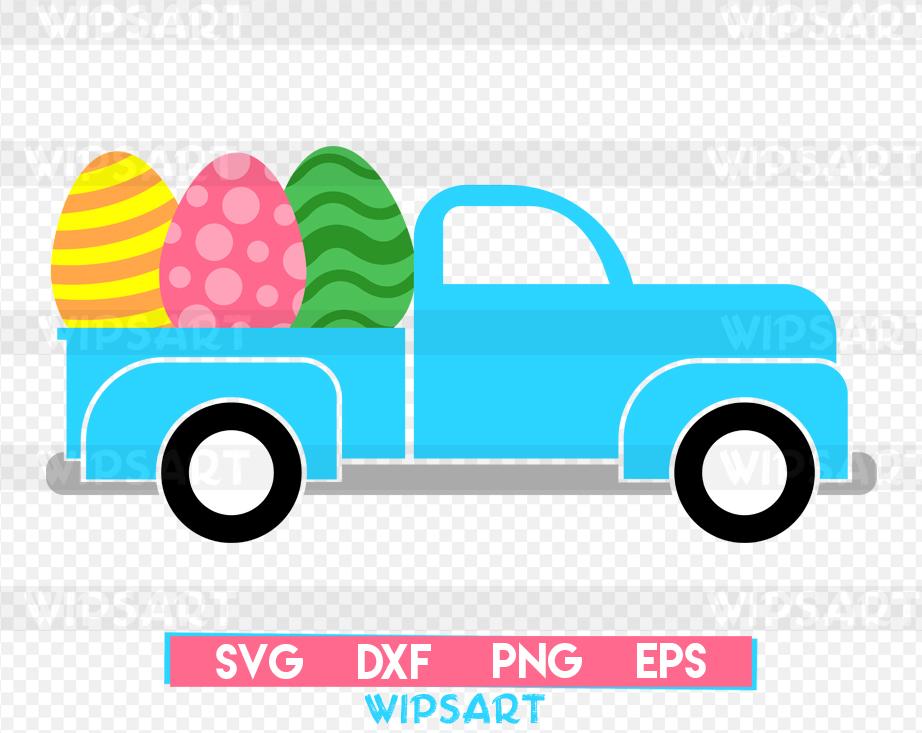 SALE! Easter old truck svg, easter eggs svg example image 1