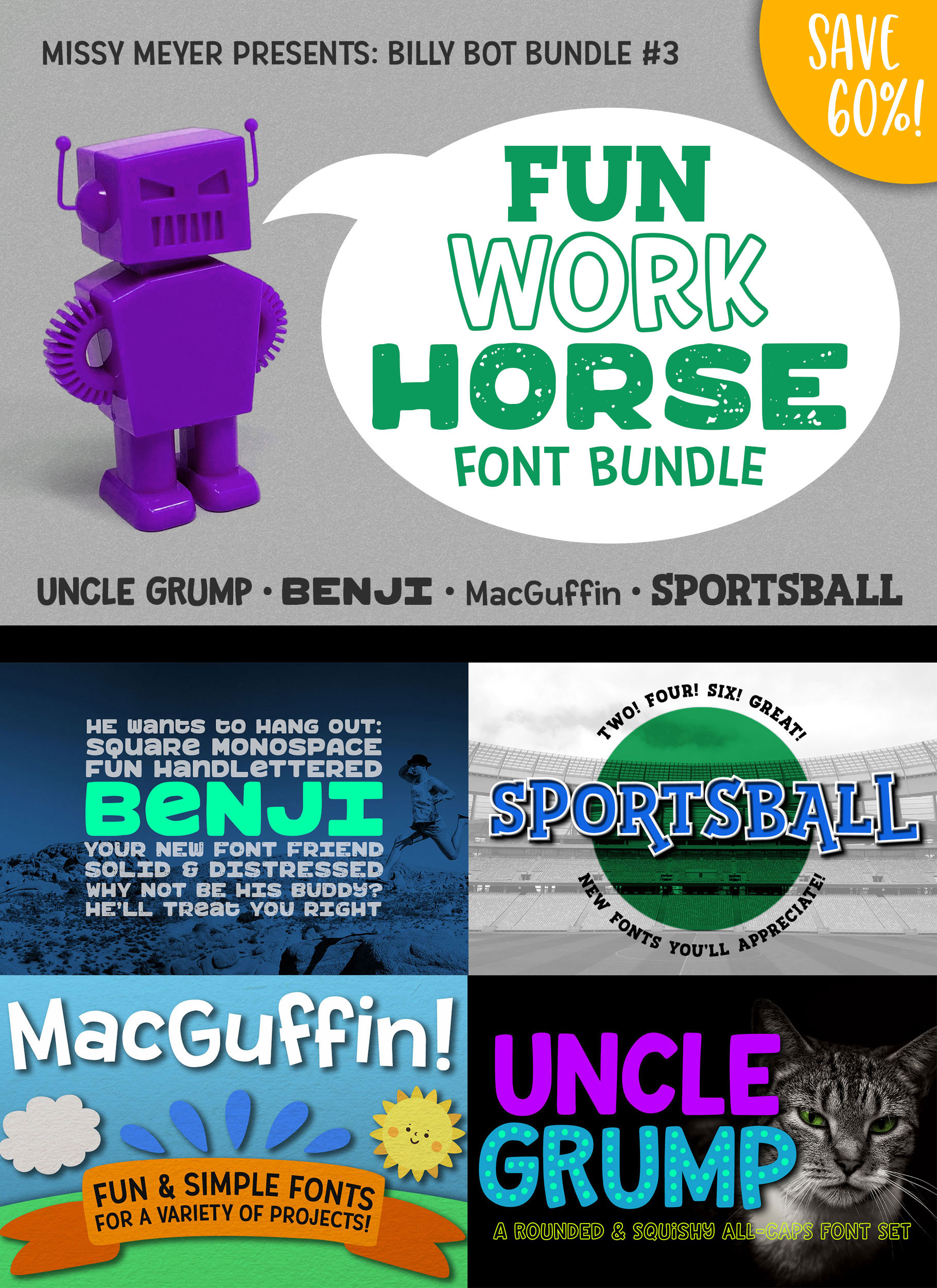 Billy Bot Bundle 3 - The Fun Workhorse Font Bundle! example image 7
