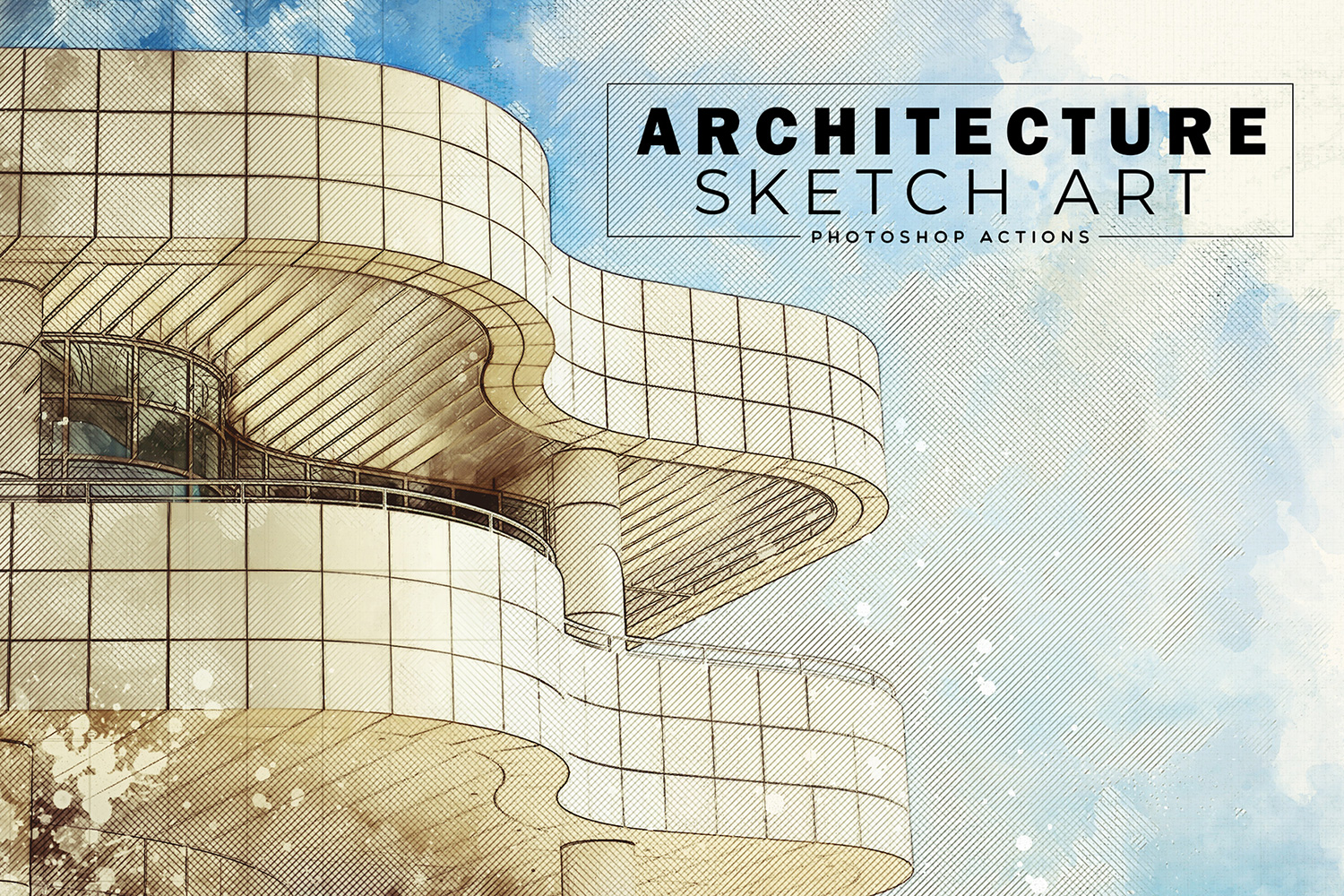 Architecture Sketch Art PS Actions example image 1