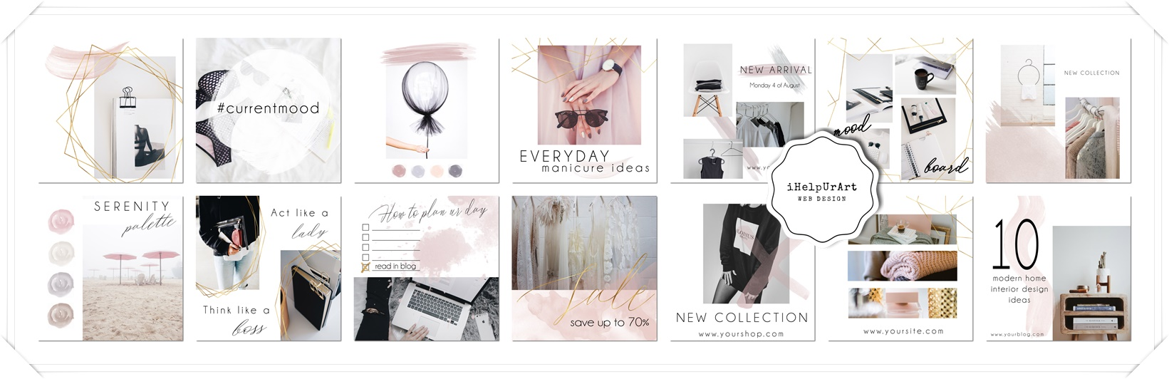 14 Editable Instagram Posts Templates PSD example image 3