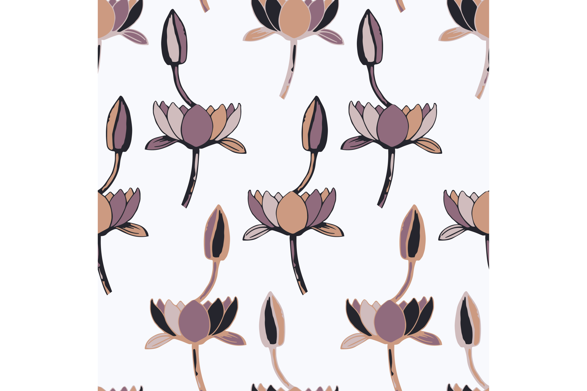Ethnic boho seamless pattern with decorative lilies. Print. Cloth design, wallpaper. example image 1
