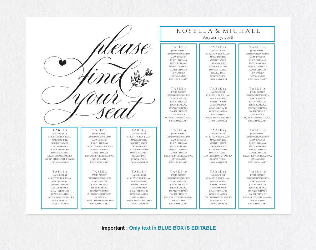 wedding seating chart sign, TOS_11 example image 4