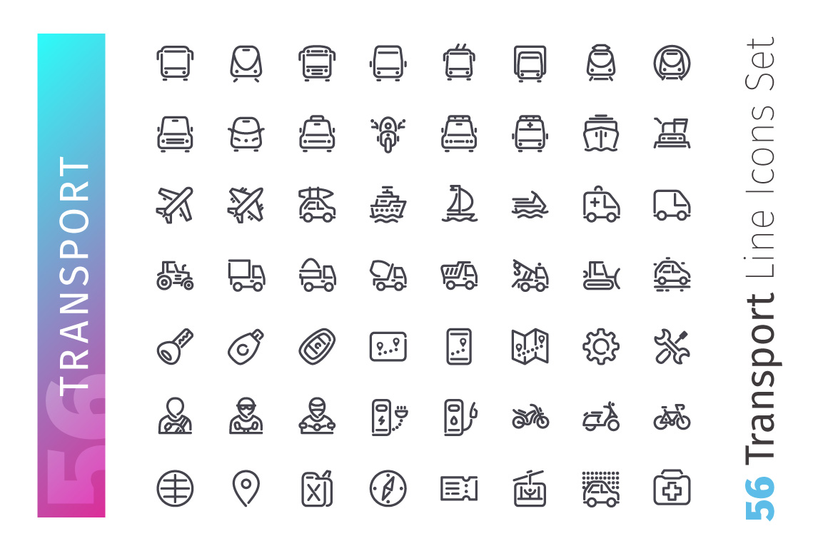 Transport Line Icons Set example image 2