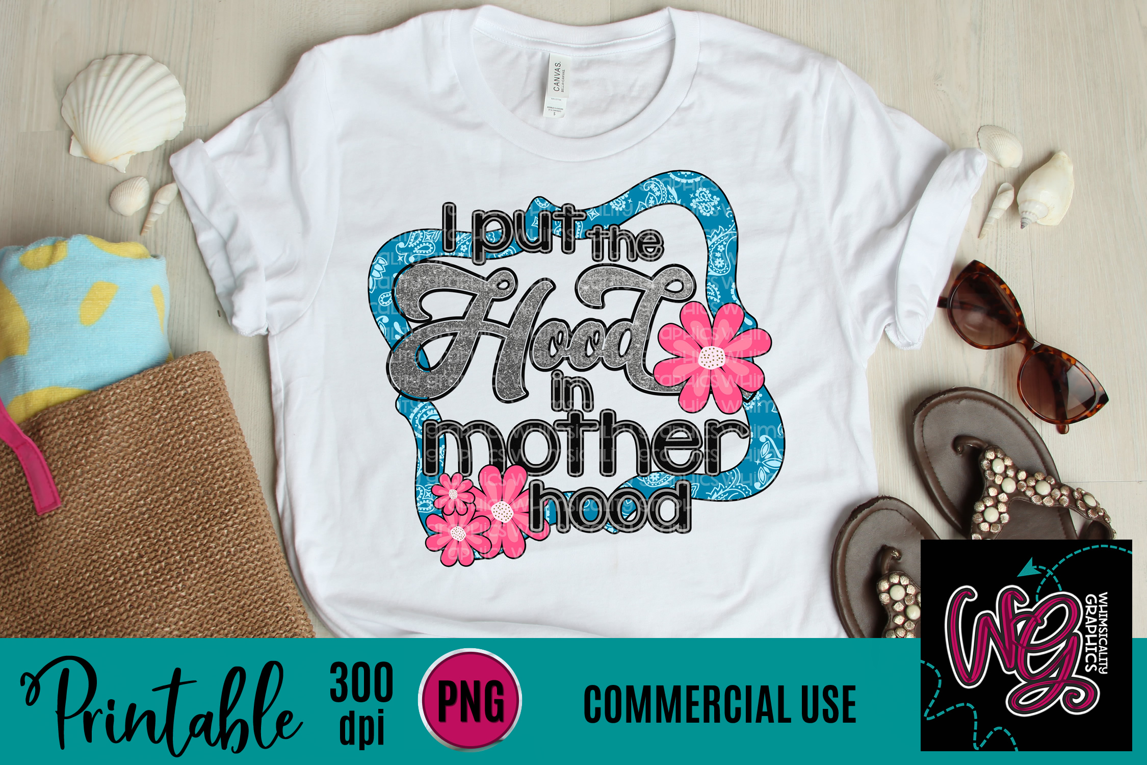 I Put the Hood In Motherhood Paisley Sublimation Printable example image 1