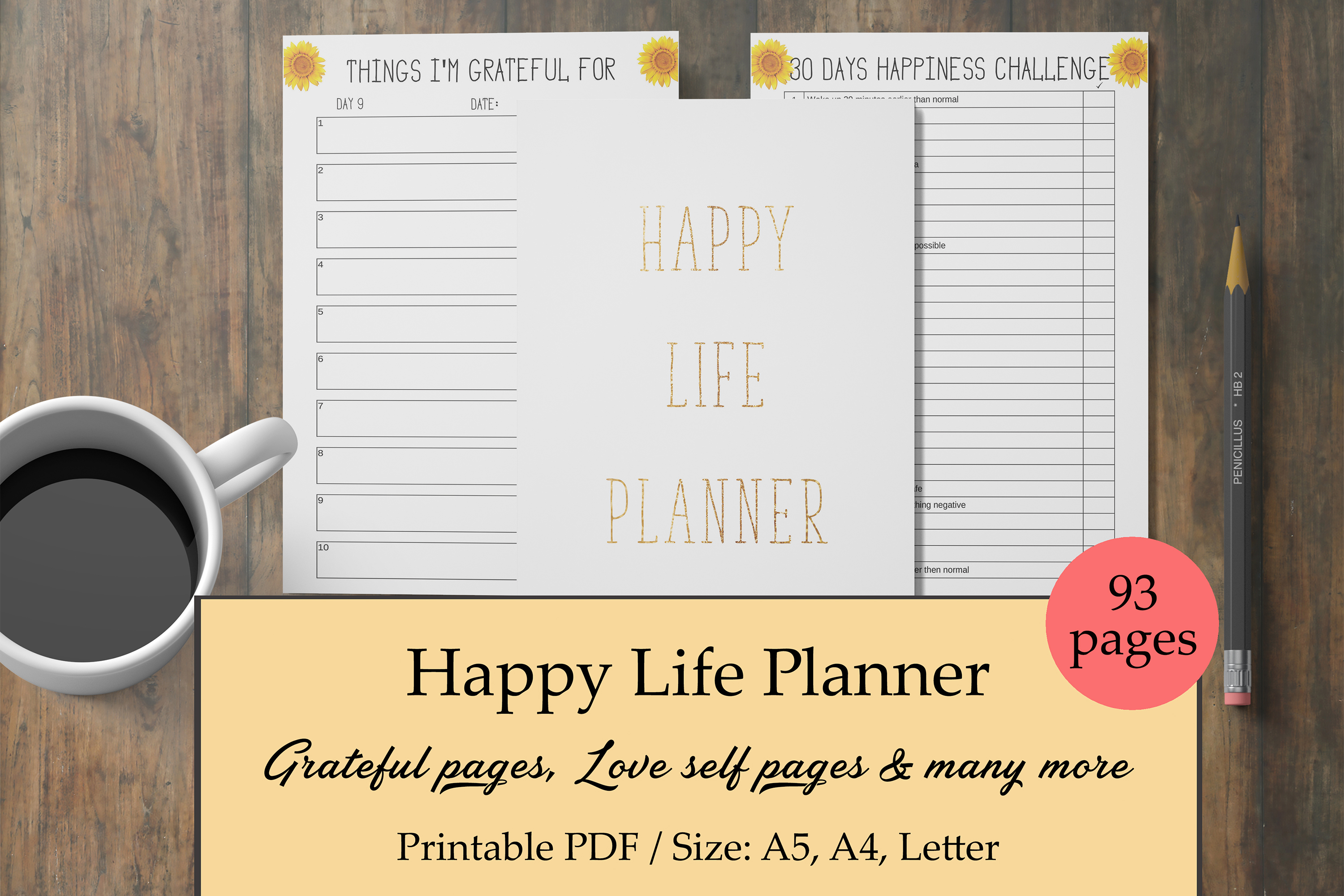 Happy Life Planner, Self Care Planner, Mental Health Journal example image 1