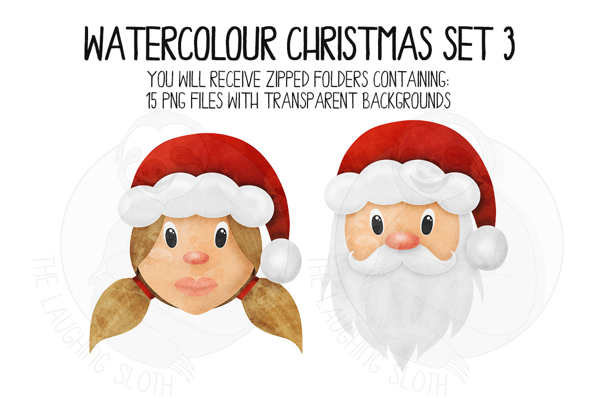 Watercolor Christmas Clipart Set 3 example image 2