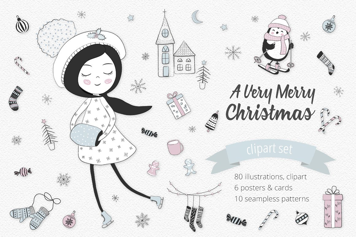 Christmas Illustration.A Very Merry Christmas Illustration Set