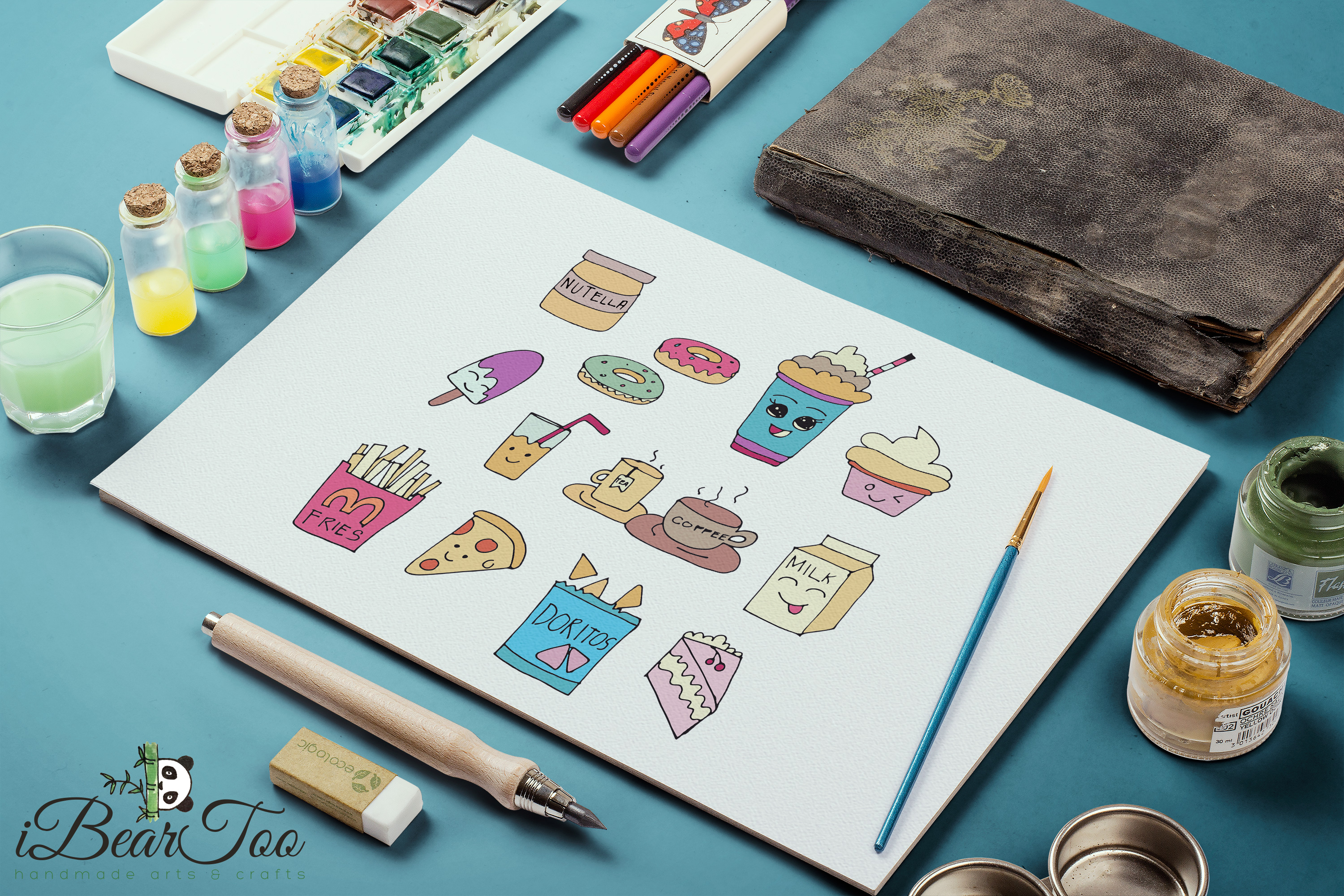 Food SVG Bundle Color Clipart Doodle Drawing Vector Cut File example image 4