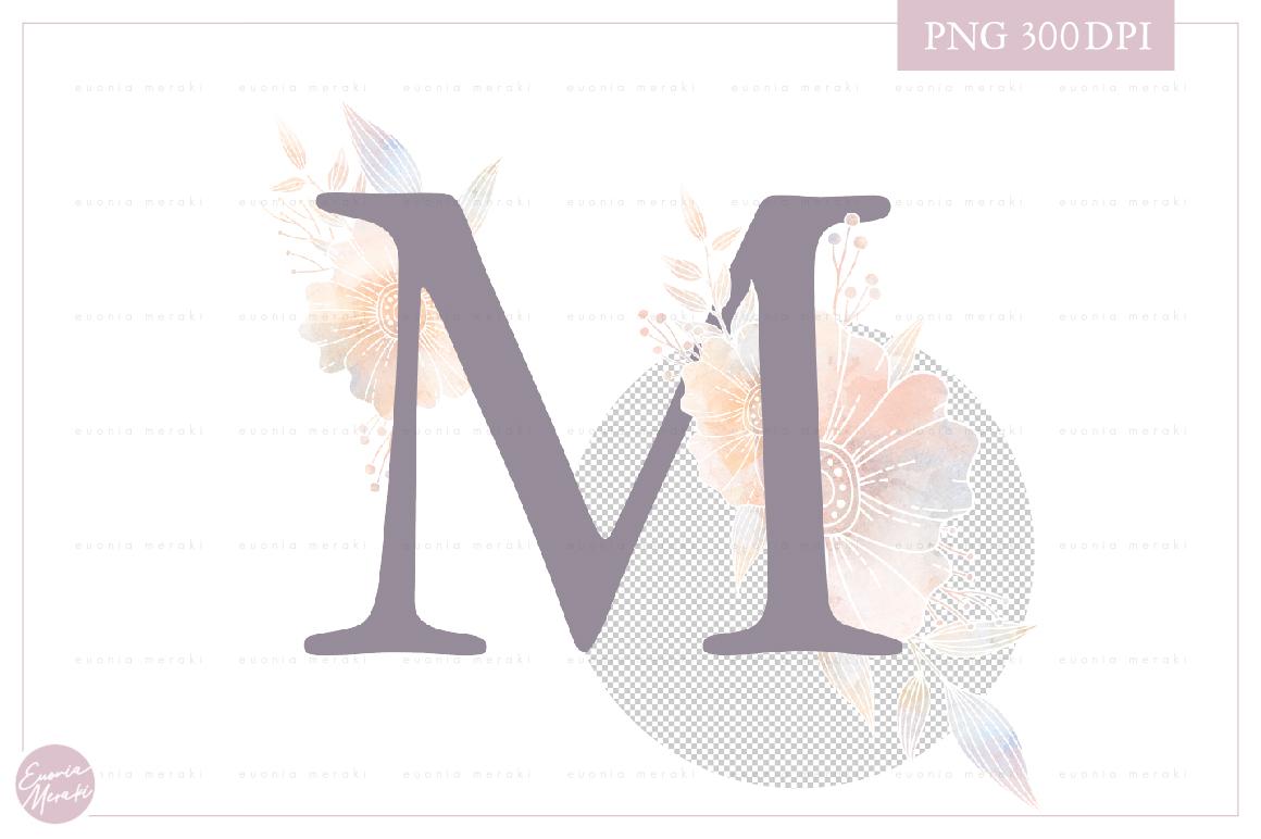 MONOGRAM Letter M Elegant Floral Monogram - Flower alphabet example image 2