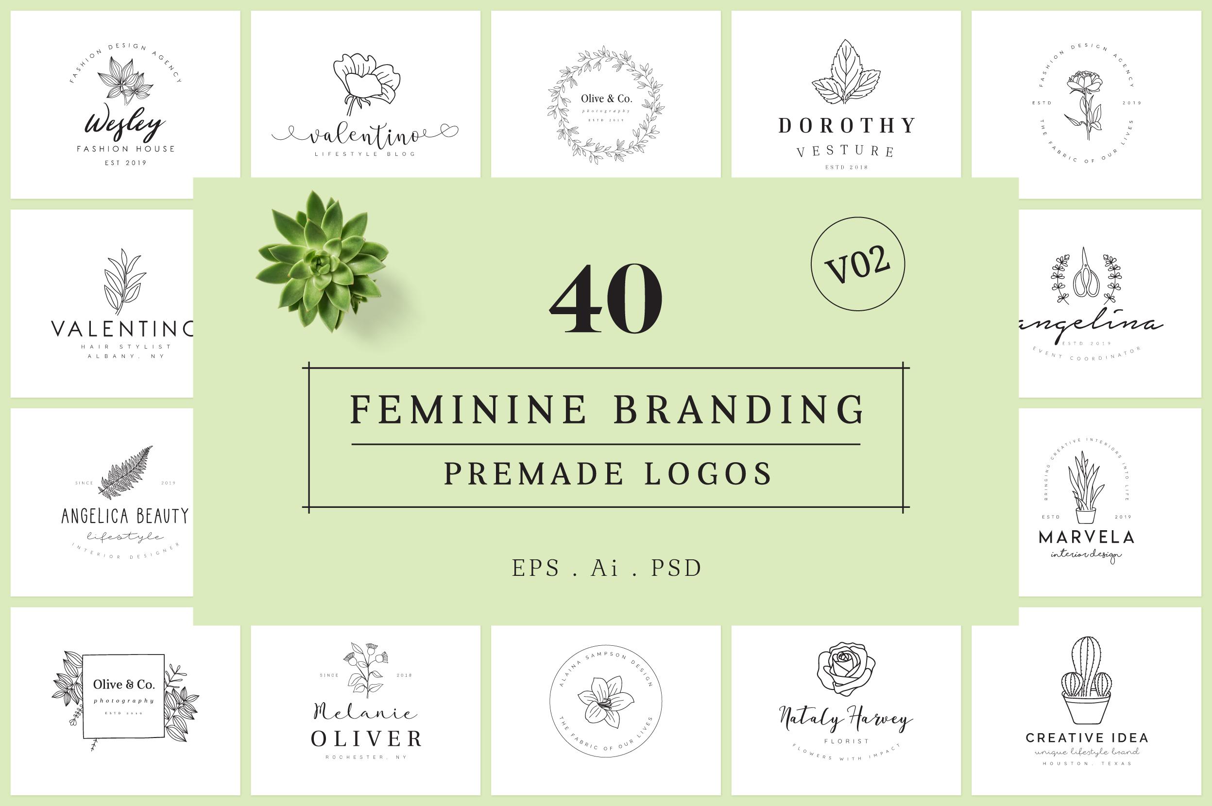 Feminine Branding Premade Logos V02 example image 1