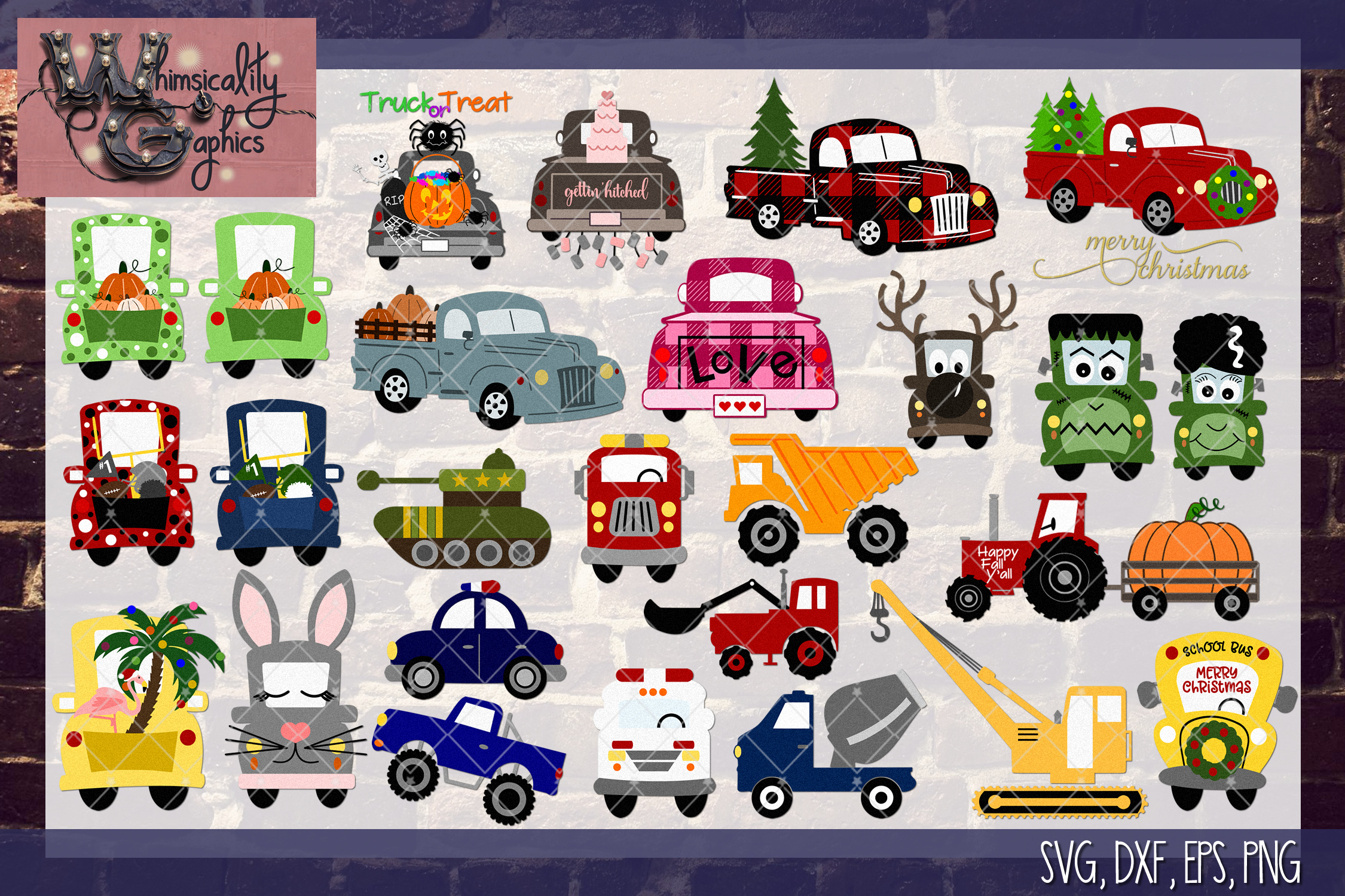 Whimsicality Vehicle Bundle SVG, DXF, PNG, EPS Comm & Pers example image 2