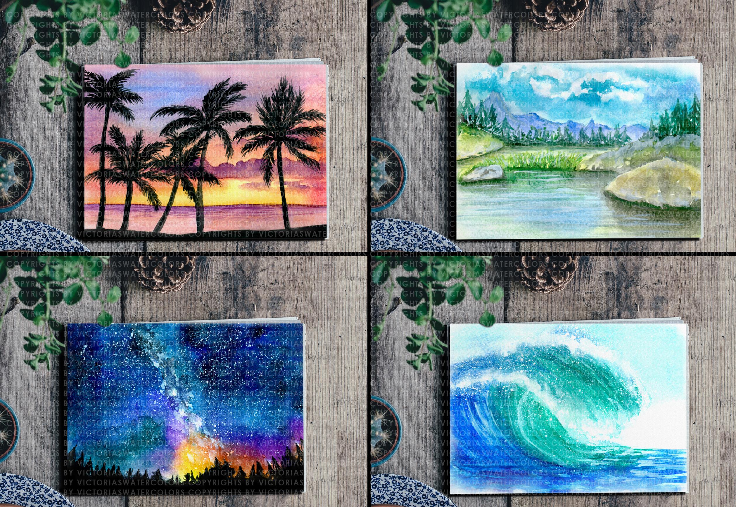 Watercolor Landscape Bundle Watercolor Beach Sunset Galaxy Texture Watercolor Farm Windmill example image 4