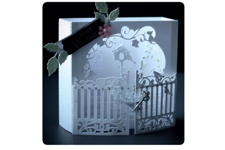 Secret Garden shadow box style Greetings card example image 2