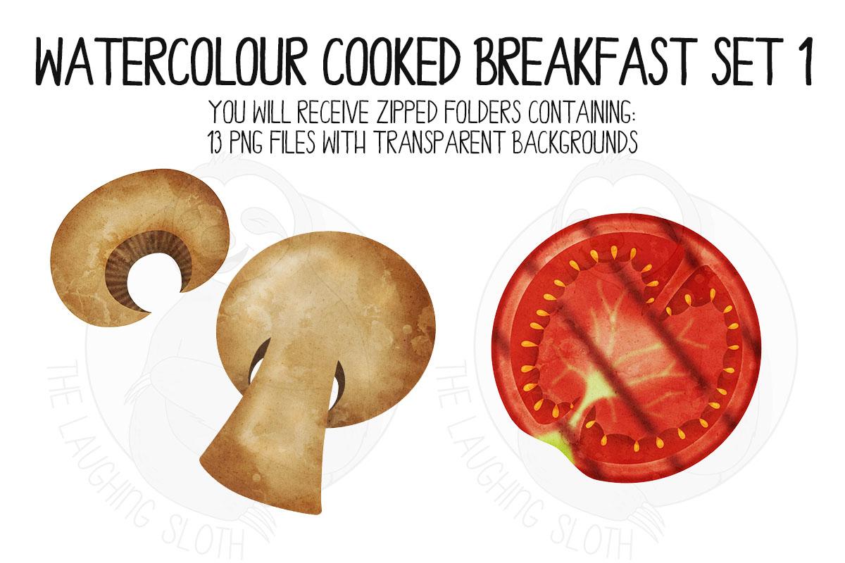 Watercolor Cooked Breakfast Clip Art Set example image 5