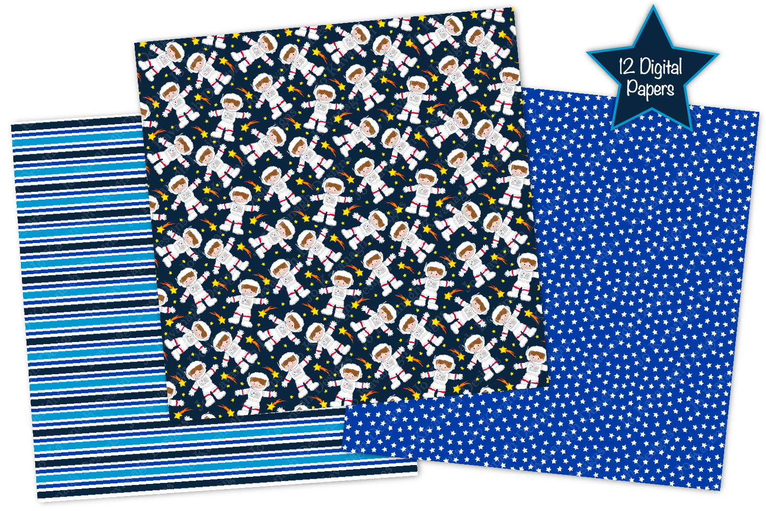 Space Digital Papers, Space Patterns, Astronauts, Planets example image 2