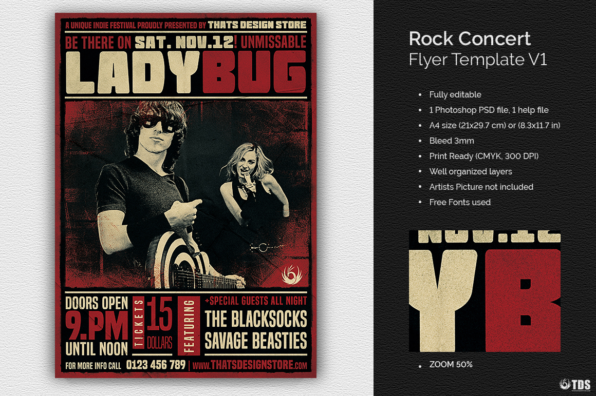 Rock Concert Flyer Template V1 example image 1