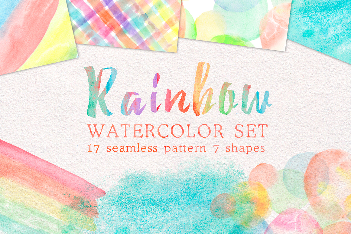 Rainbow watercolor seamless pattern example image 1