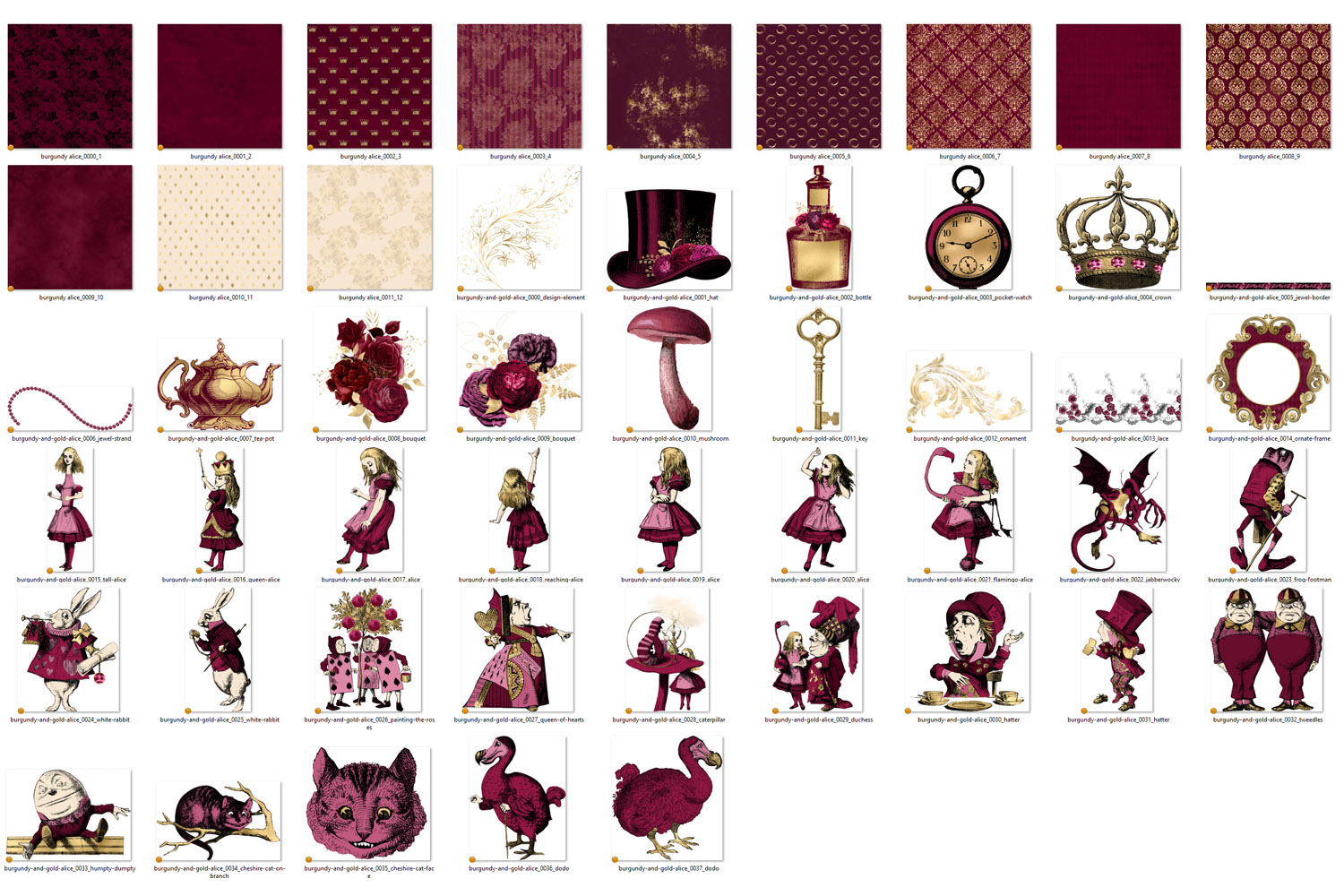 Burgundy and Gold Alice in Wonderland Graphics example image 4