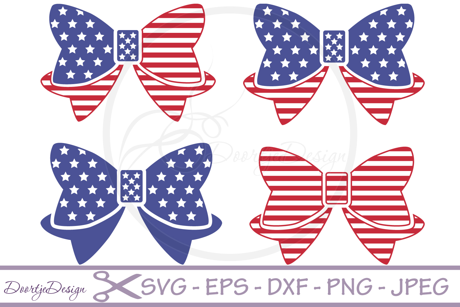 SVG 4th of July Bows 4 Cutting files example image 1