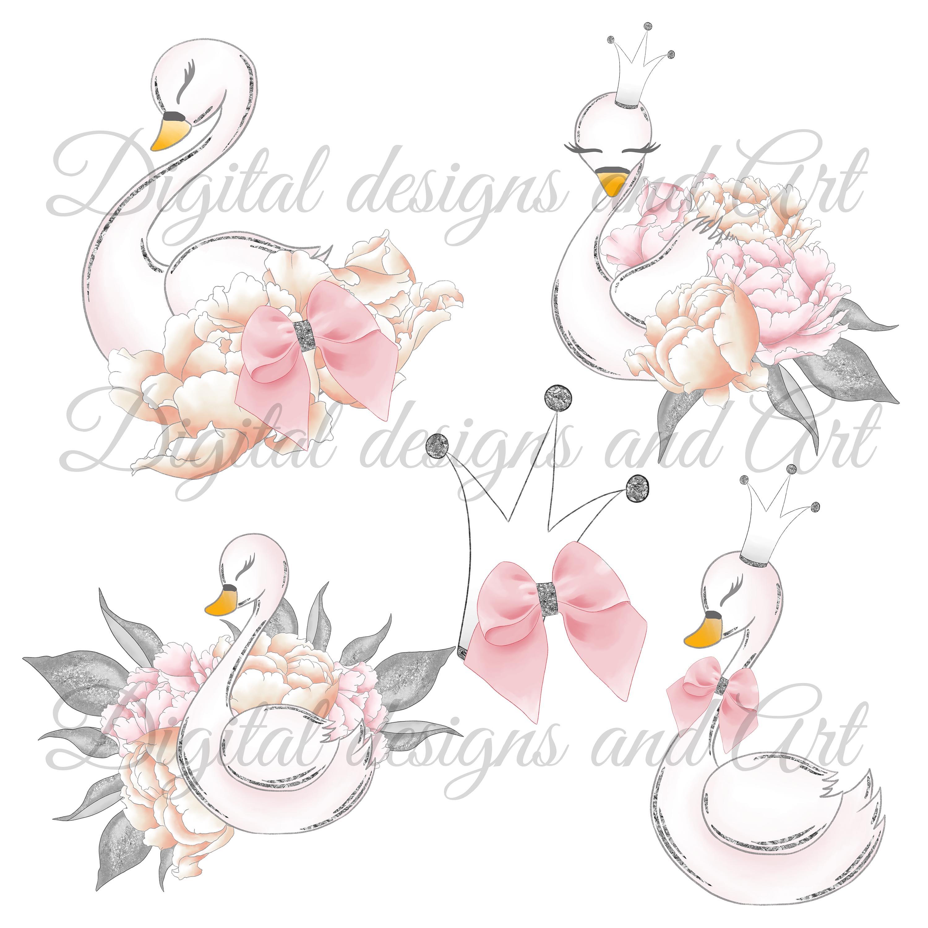 Wild swans clipart example image 4