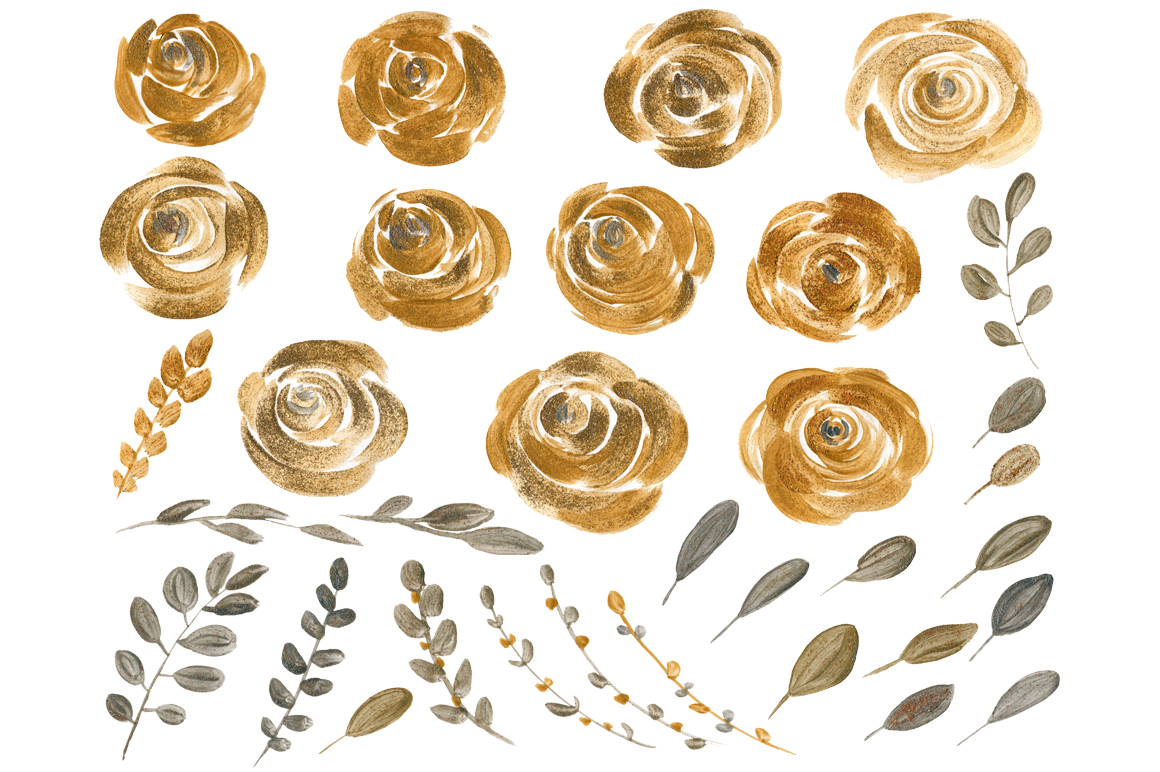 Gold & silver flowers and leaves example image 2