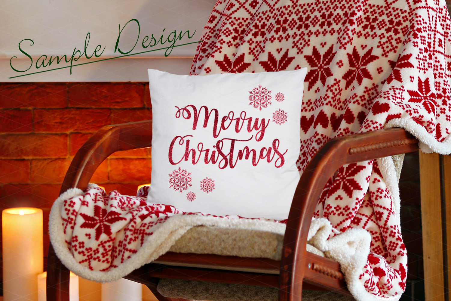 Christmas Pillow Mockup Bundle, Pillows Mock Up Bundle, JPG example image 3