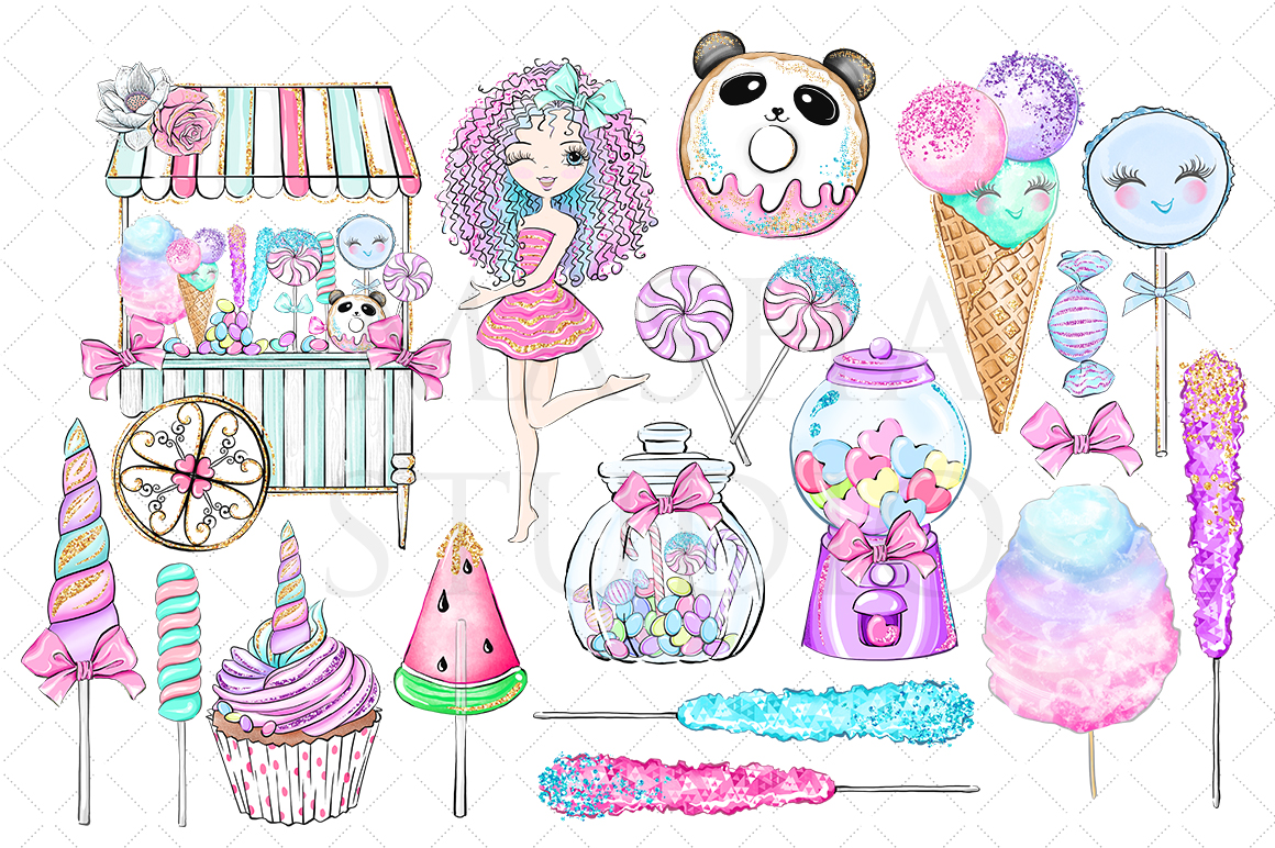 SWEET SUGAR CANDY LAND Clipart example image 3