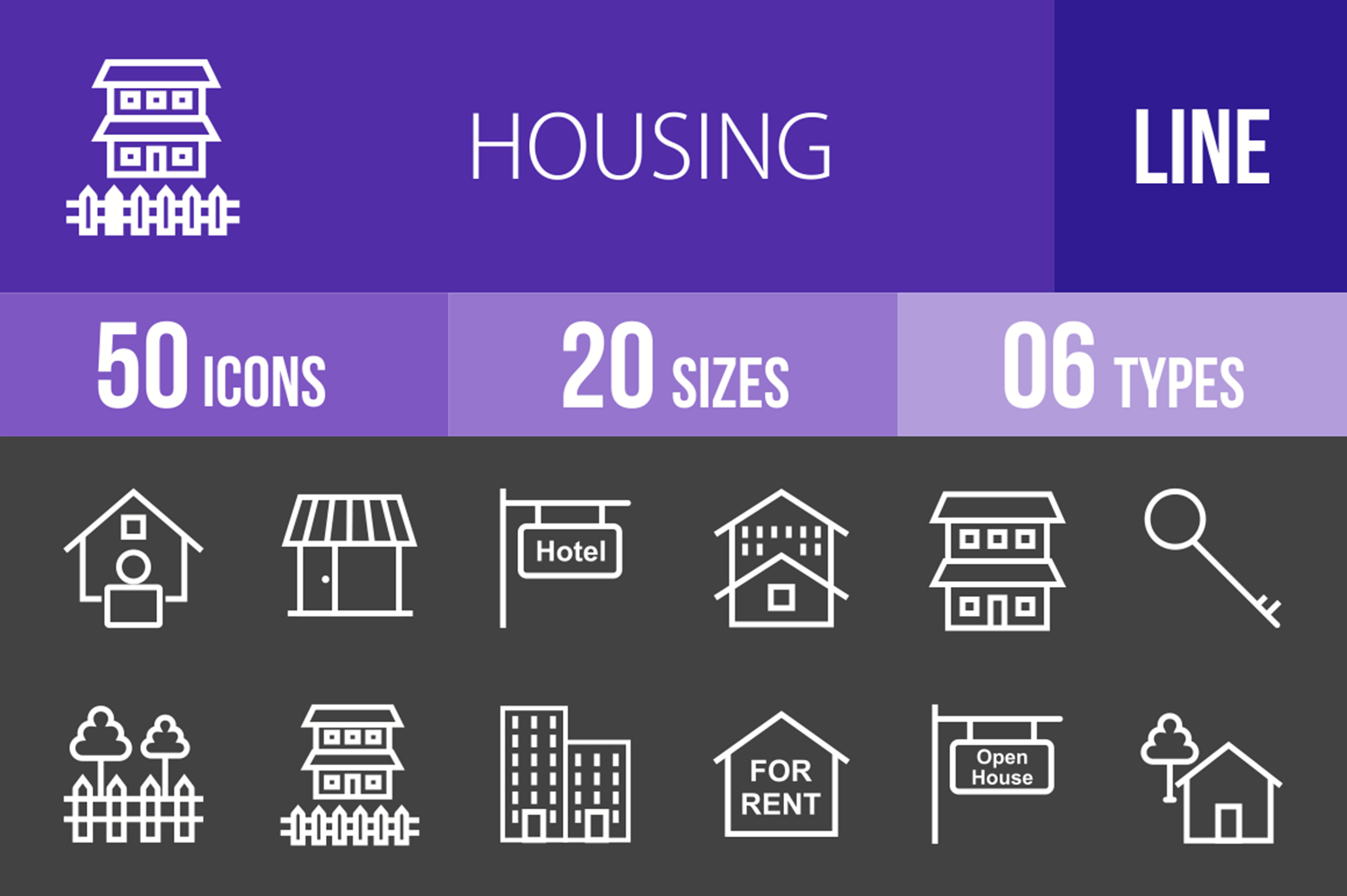 50 Housing Line Inverted Icons example image 1