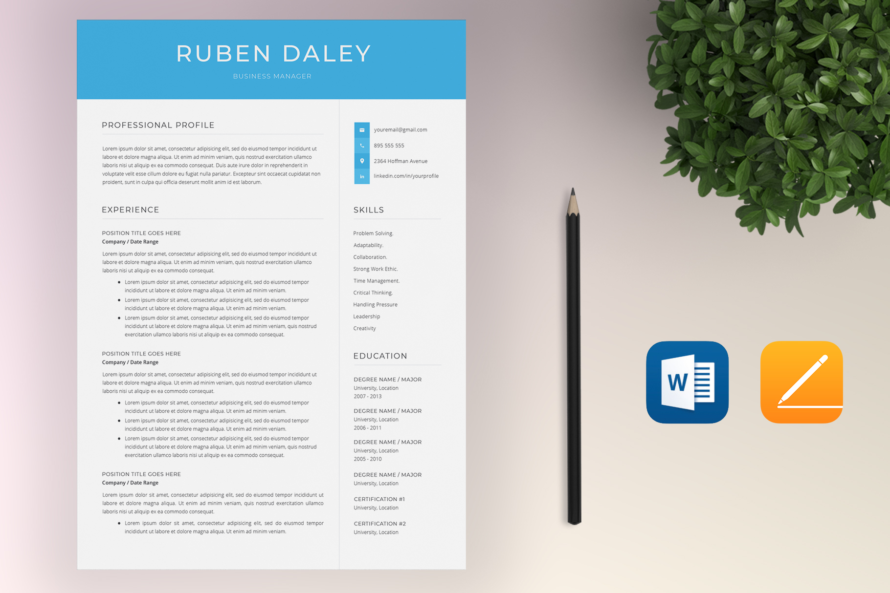 Resume Template Bundle | 4 Pages and Cover Letter example image 2