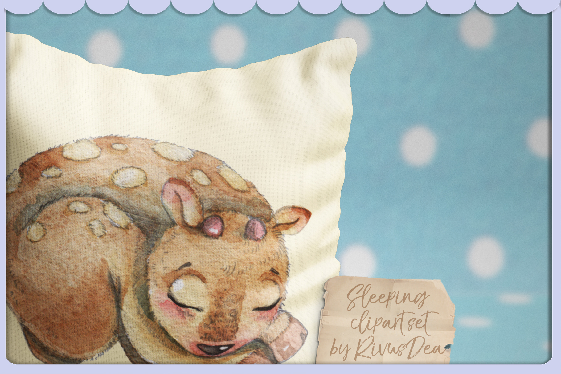 Cute sleeping baby animals watercolor clipart kit example image 2