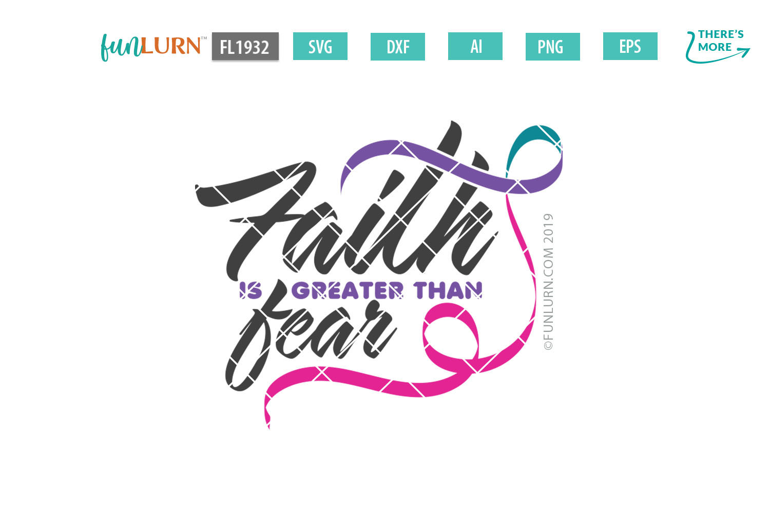 Faith is Greater Than Fear Purple Teal Pink Ribbon SVG example image 2