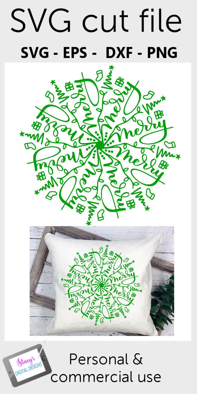 Mandala SVG - Merry mandala svg - Christmas SVG example image 2