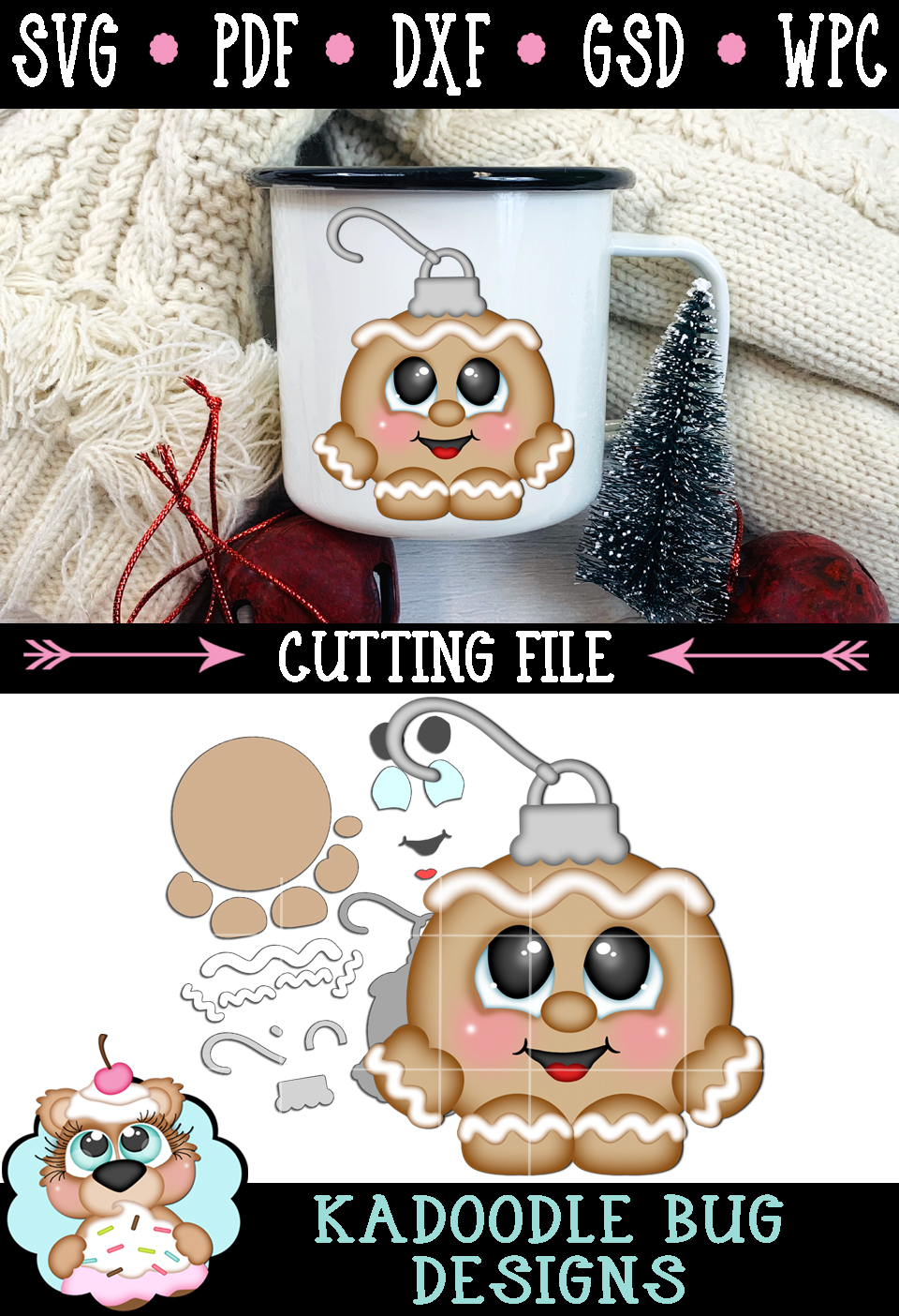 Ginger Boy Ornament Cutie Cut File - SVG PDF DXF GSD WPC example image 2
