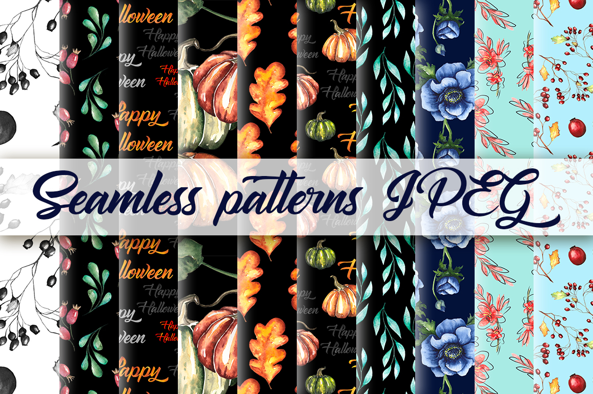 Watercolor collection of 20 autumn seamless patterns example image 2